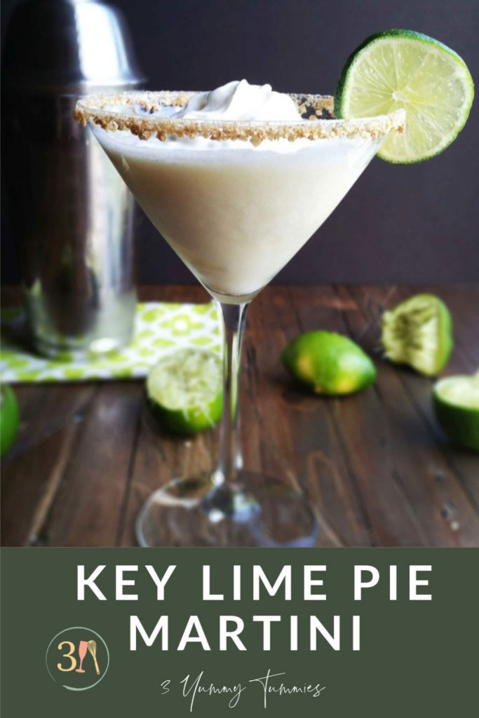 This Key Lime Pie Martini is sinfully delightful! If you enjoy the pie as much as I do, then you MUST try this today in honor of Saturated Saturday!  Imagine the smooth creaminess and tangy flavor of a pie packed into a perfect, delectable drink (without all the fat).
