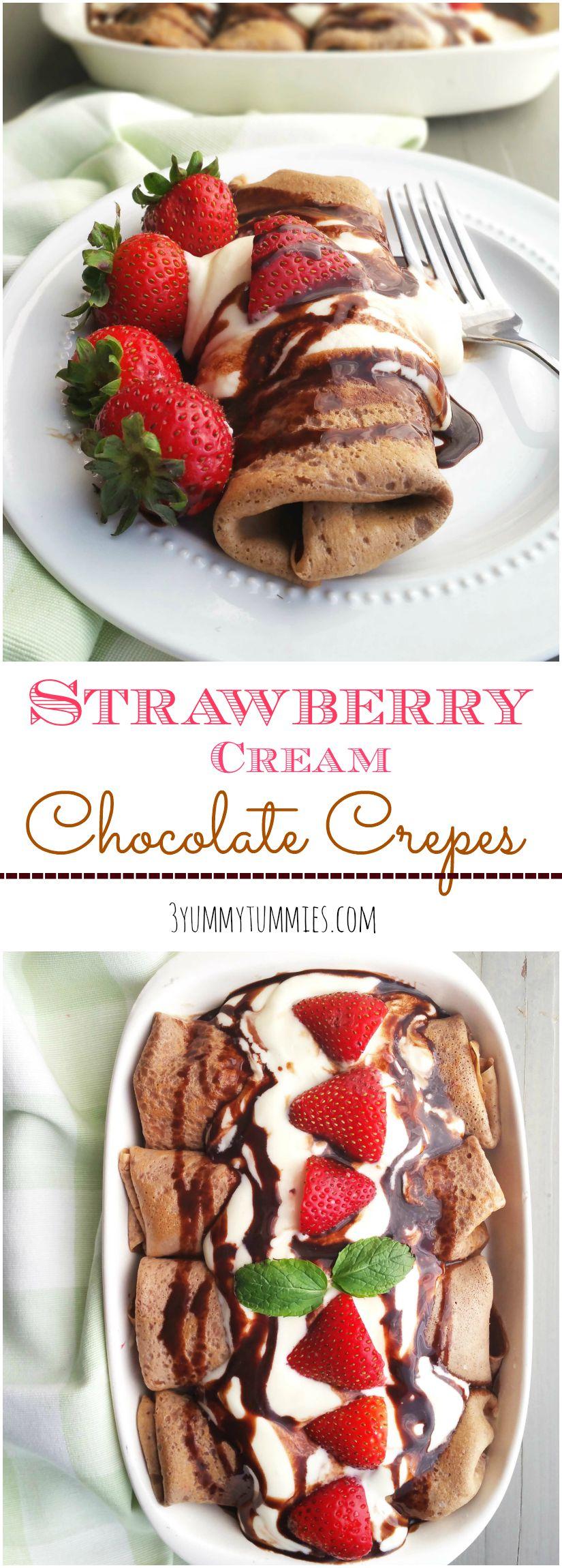 Strawberry Cream Chocolate Crepes | 3 Yummy Tummies