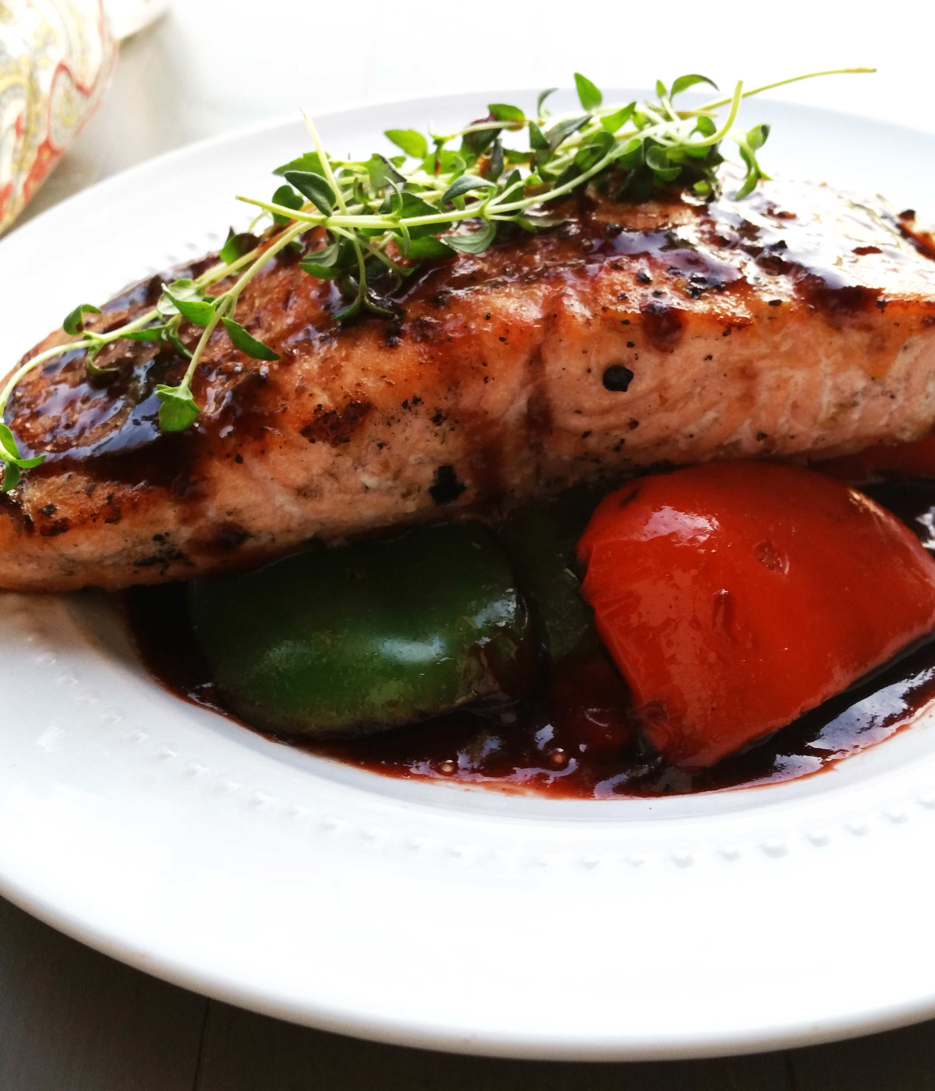 Grilled Salmon and Peppers with Strawberry Balsamic Glaze