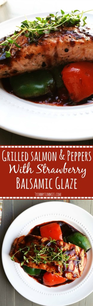The addition of Strawberry Balsamic Glaze to this Grilled Salmon and Peppers adds the perfect amount of sweetness to this healthy dish.