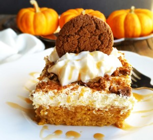 Salted Caramel Pumpkin Poke Cake