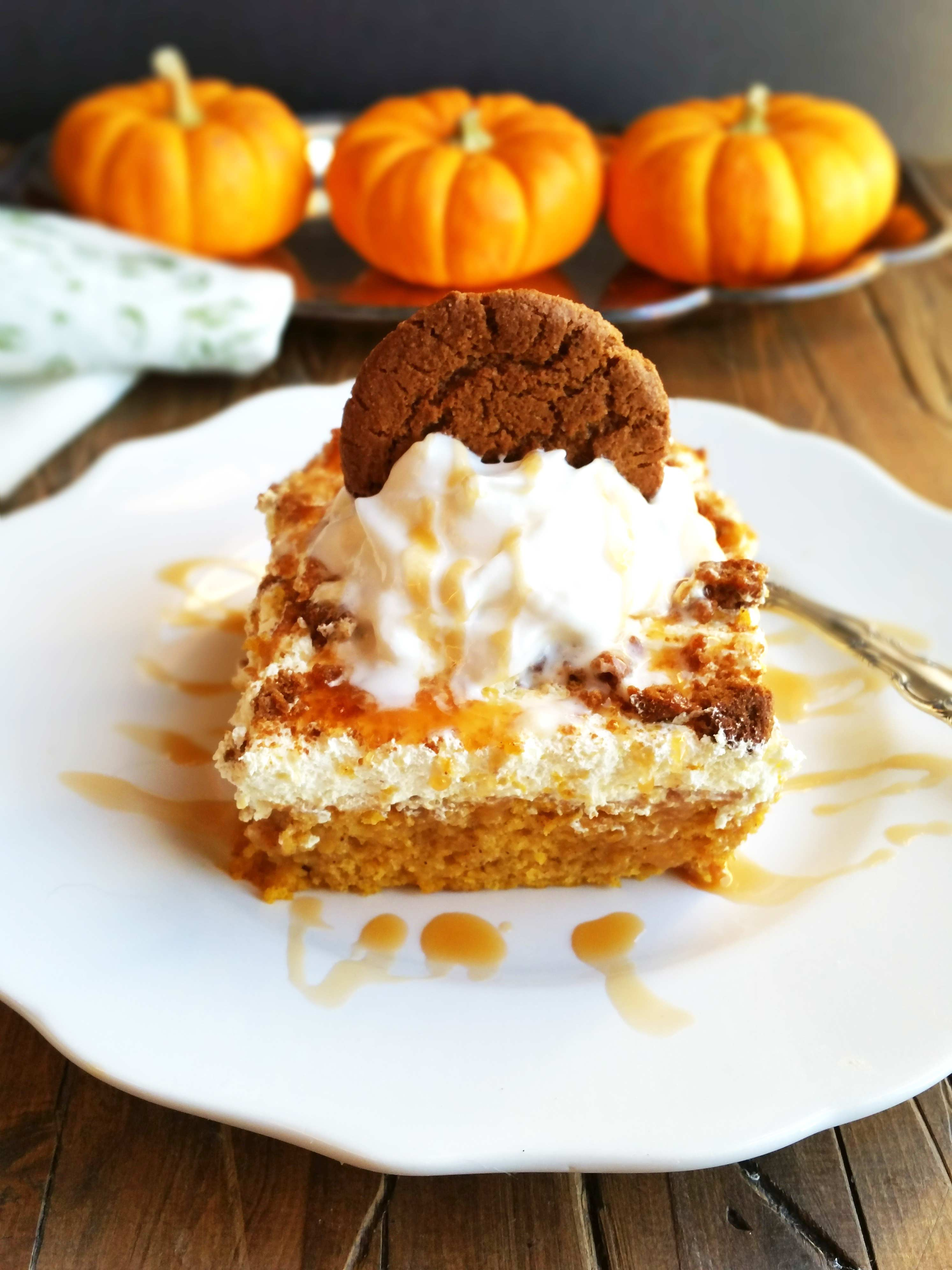 Salted Caramel Pumpkin Poke Cake | 3 Yummy Tummies
