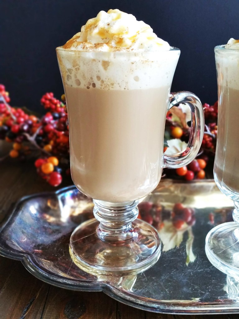 These Spiked Pumpkin Lattes are the quintessential fall drink with the perfect blend of pumpkin, spices, caramel and Rum Chata. No need to have a latte maker for this one!