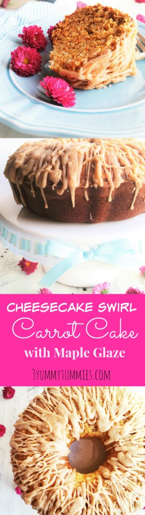 Cheesecake Swirl Carrot Cake with Maple Glaze