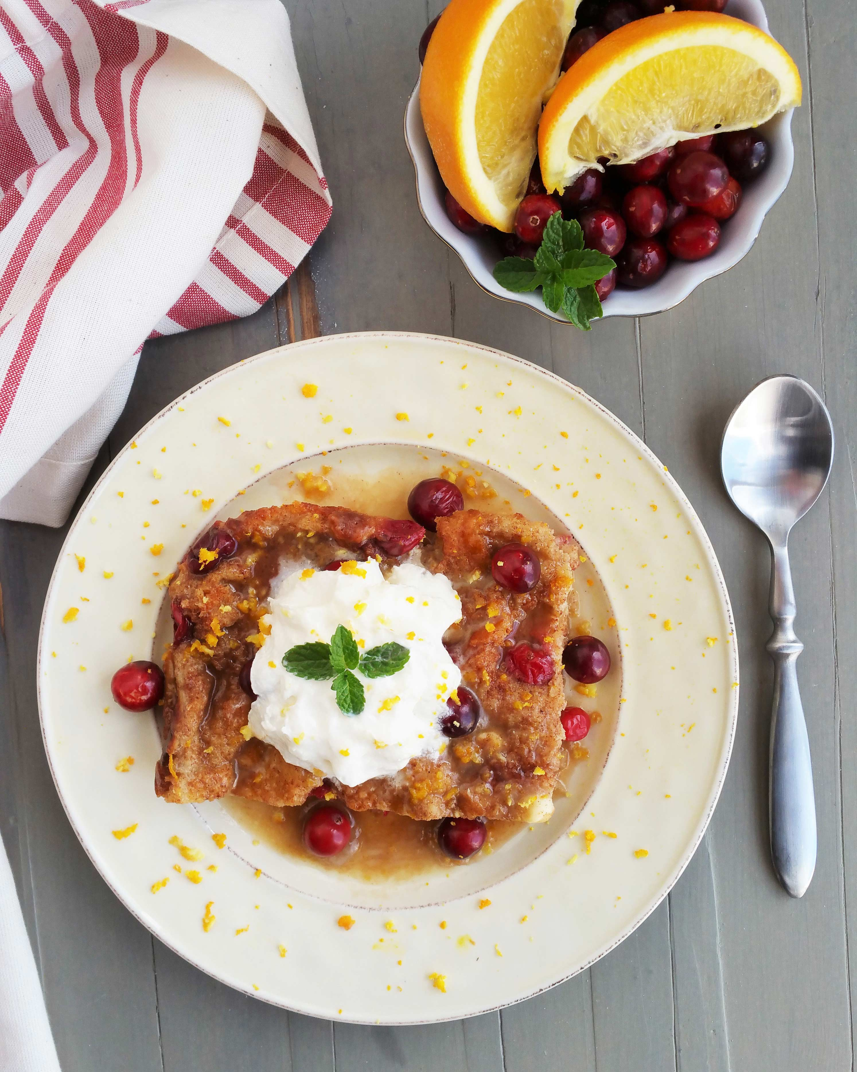 Cranberry Bread Pudding with Orange Bourbon Sauce