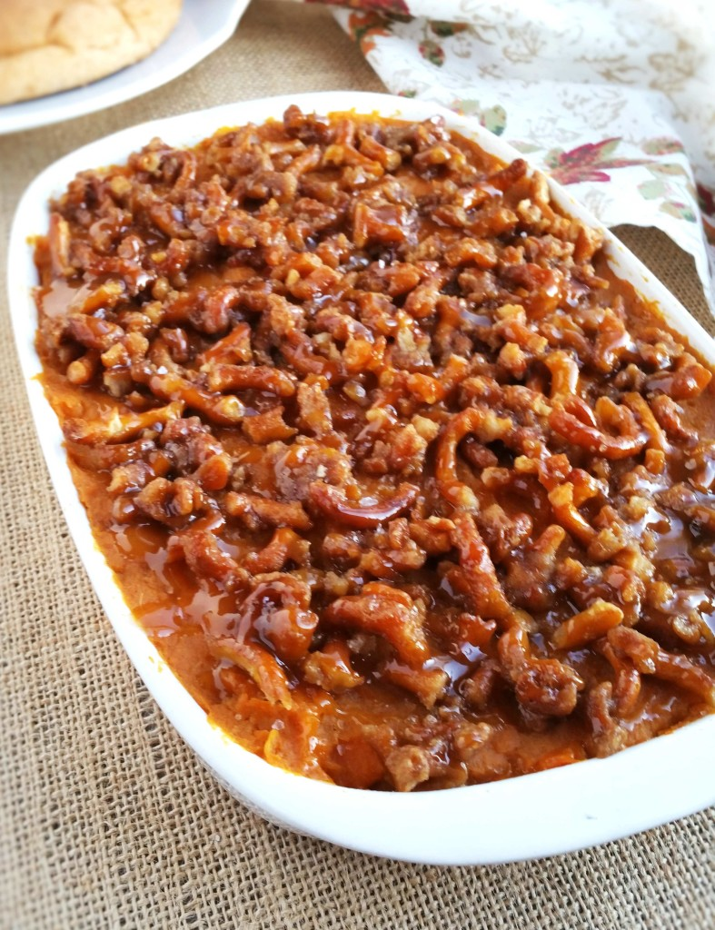 This Salted Caramel Sweet Potato Casserole has a unique pretzel topping for a delicious combination of textures.
