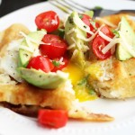 Hash Brown Waffle Egg in the Holes with Tomato Avocado Salsa