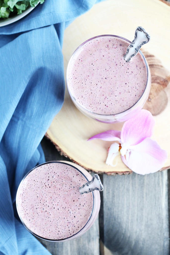 This Kale and Berry Yogurt Smoothie is a such a healthy and delicious way to start thenew year off right! It is loaded with strawberries, blueberries, raspberries, kale and greek yogurt with a perfect touch of sweetness fromcranberry juice.