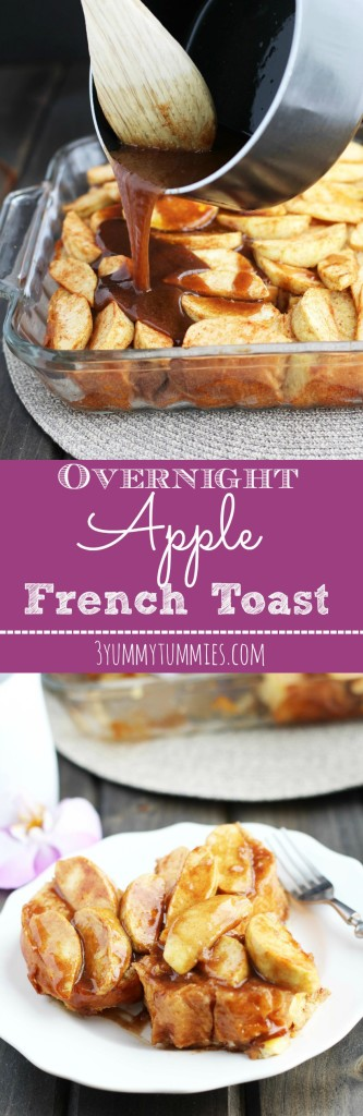 My family's favorite breakfast...Apple French Toast Casserole is made the night before and topped with a warm cinnamon and brown sugar sauce.