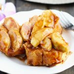 This Overnight Baked Apple French Toast Casserole is made with fresh apples and a warm, cinnamon sauce.