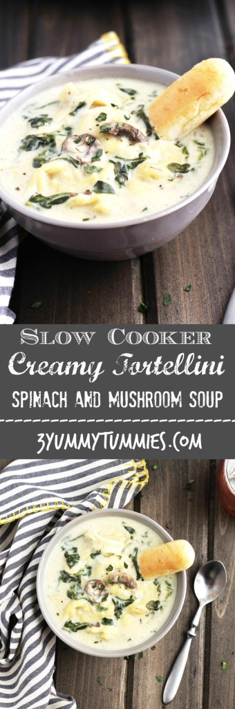 A vegetarian, creamy cheese tortellini soup with spinach and mushrooms is sure to warm you up!