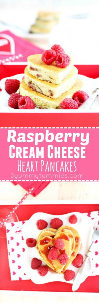 These Raspberry Cream Cheese Heart Pancakes are the perfect Valentine's morning breakfast!