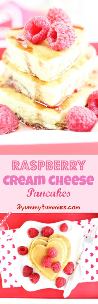 These pancakes are super fluffy with a cream cheese batter that is swirled with Raspberry Jam!