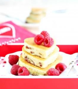 Raspberry Cream Cheese Heart Pacakes
