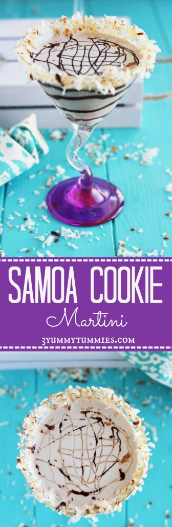 No need to wait for your Girl Scout Cookie delivery with this Samoa Cookie Martini!  It is the perfect creamy combination of chocolate, caramel and coconut...YUM!