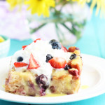 Hawaiian Sweet Roll and Berry Bread Pudding with Lemon Sauce
