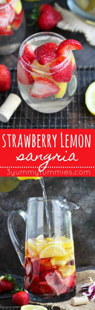 This Strawberry Lemon White Wine Sangria is so refreshing and perfect for entertaining.