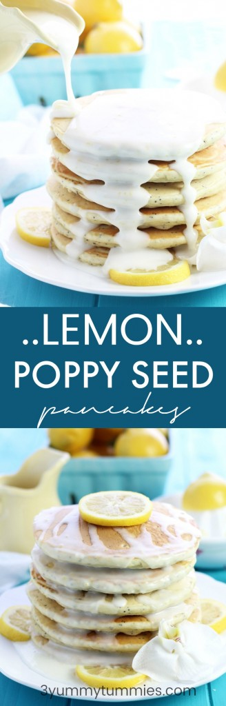 These fluffy, Lemon Poppy Seed Pancakes are topped with a lemon glaze for a decadent breakfast treat.