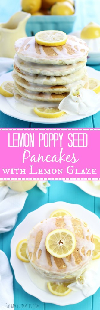 Lemon Poppy Seed Pancakes with Lemon Glaze