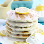 These fluffy, Lemon Poppy Seed Pancakes are a breakfast treat with lemon glaze,