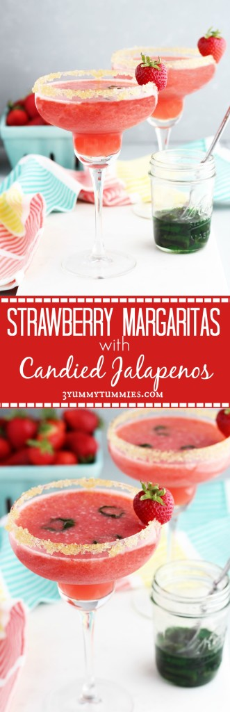 Strawberry Margaritas with Candied Jalapenos pin
