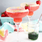 Strawberry Margaritas with Candied Jalapenos