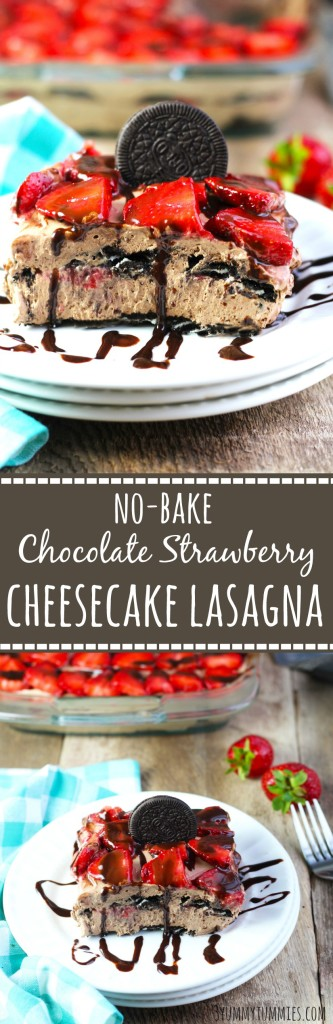 This No-Bake Chocolate Strawberry Cheesecake Lasagna is a creamy, layered delight that is super EASY to make.