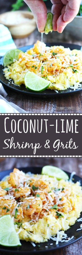 Corn Grits are simmered in coconut milk, seasoned with lime zest and topped with lime-flavored shrimp and coconut flakes...this is one of my favorite, easy meals!