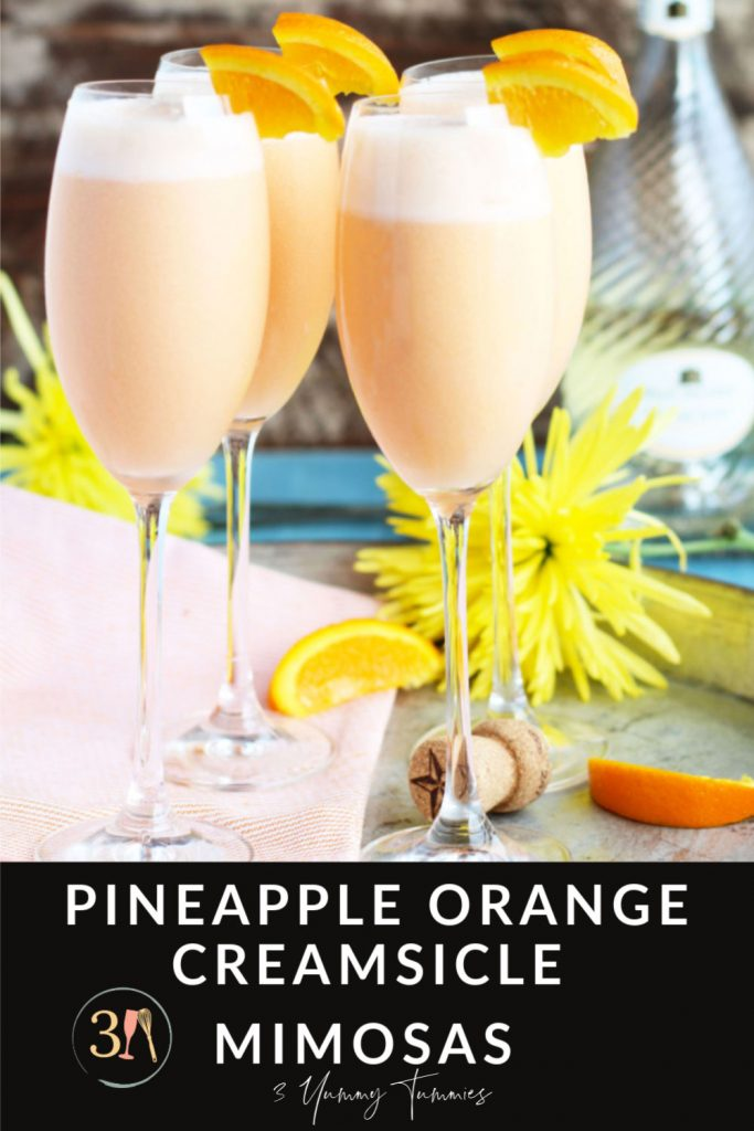 These Pineapple Orange Creamsicle Mimosas are an ethereal blend of pineapple juice, orange sherbet and sparkling Moscato.  Only 3 ingredients transforms the basic mimosas into a creamy, dreamy combination that will wow your guests at your next brunch.
