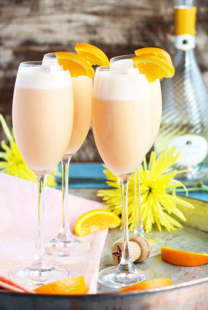 Pineapple Juice, orange sherbet and sparkling moscato are blended together for the ultimate brunch cocktail.