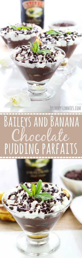 Baileys and Banana Chocolate Pudding Parfaits c