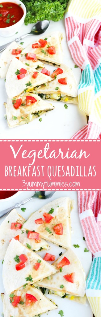An easy and delicious vegetarian breakfast quesadilla with kale, egg and fontina cheese.
