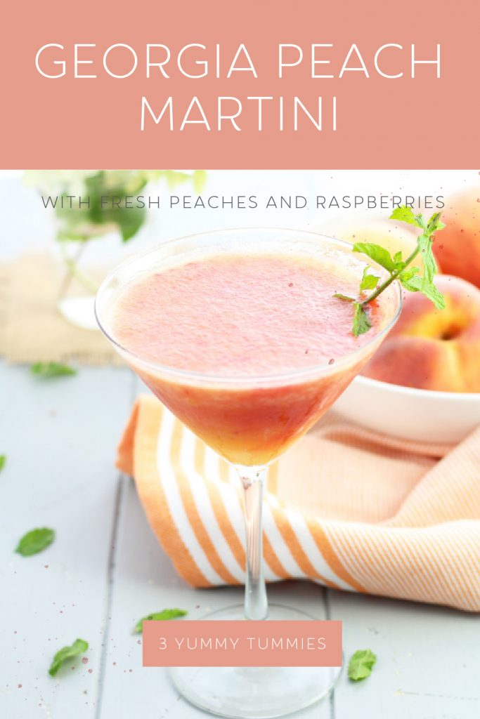 Its peach season and time for a Georgia Peach Martini with vodka, peaches, raspberries, peach liqueur and a fresh sprig of mint. No messy crusts or hot ovens...just fresh, peachy perfection in a glass! This martini was alsoinspired by the Georgia Peach cocktail at the Cheesecake Factory.
