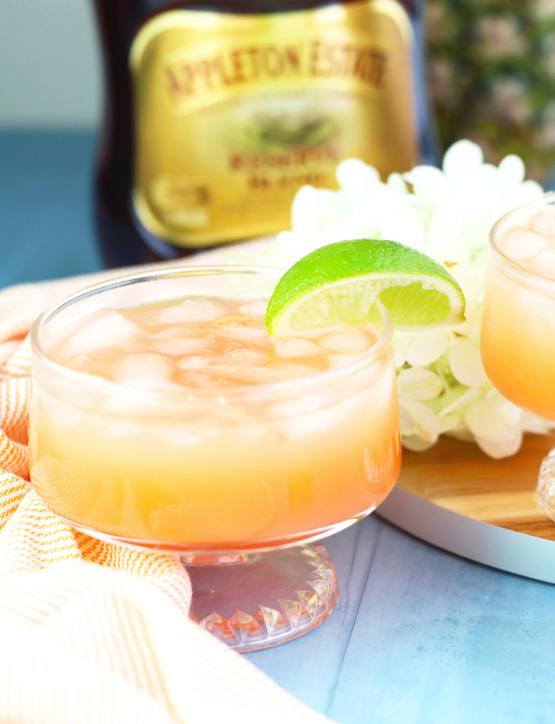 This Jamaican Rum Punch is the perfect party drink that gets prepared in a pitcher andpoured over ice. It issuper refreshing with orange juice, pineapple juice, lime juice and cherry grenadine. Garnish it with a slice of fresh lime or pineapple for a tropical feel. This was my drink of choice while vacationing in Jamaica and I love their dark, Appleton Rum.