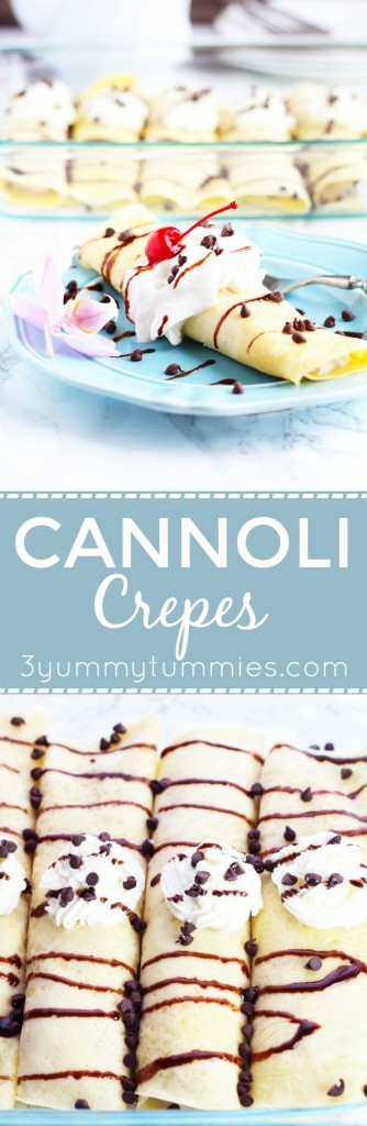 This Cannoli Crepe is super easy to make and makes a gorgeous presentation with a ricotta cheese filling.