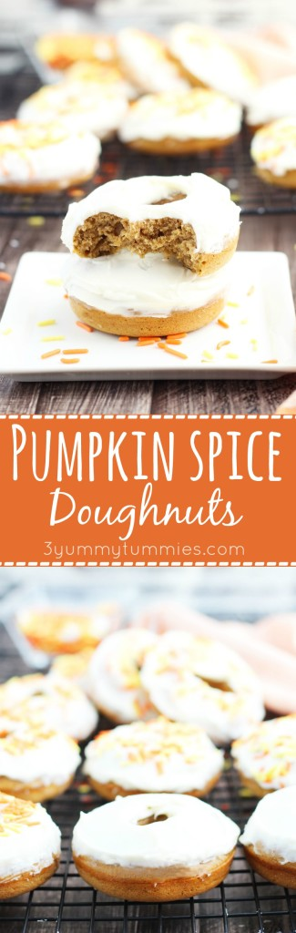 These Baked Pumpkin Spice Doughnut are topped with homemade cream cheese icing and festive sprinkles for the perfect fall treat!