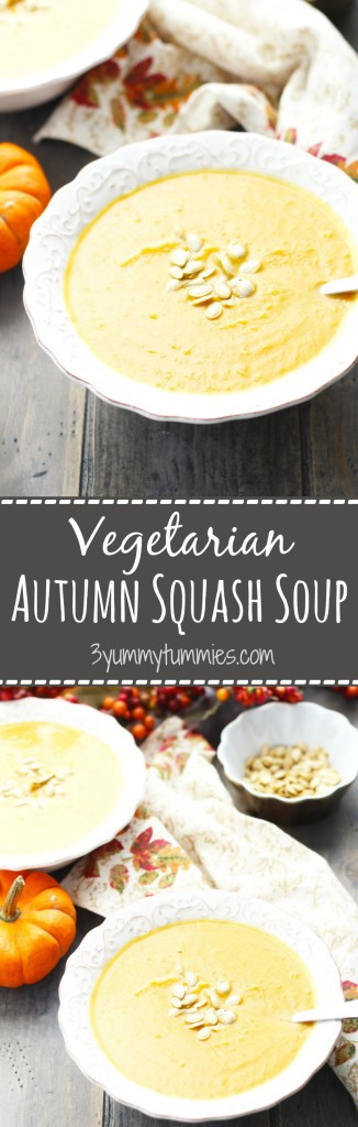 This Vegetarian Autumn Squash Soup has all the same great flavor's as Panera's version with Roasted Butternut Squash.  Plus learn how to roast butternut squash or pumpkin seeds!