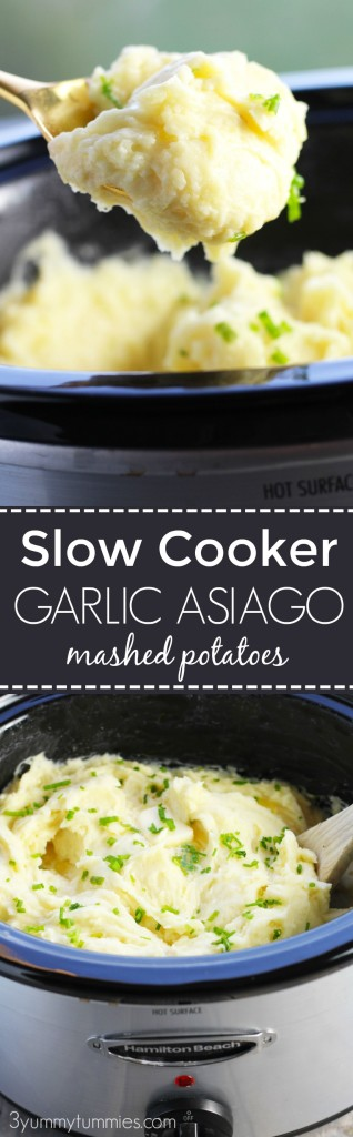EASY Slow Cooker Garlic and Asiago Mashed Potatoes are so creamy and easy with only one dirty dish to clean!