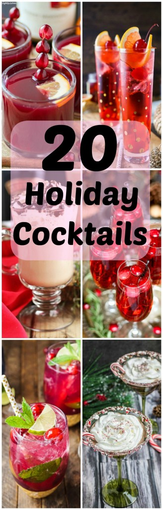 Add some cheer to your holiday celebrations with these 20 Holiday Cocktails.  Drink your cranberries warm or cold or add some peppermint to a creamy White Russian!