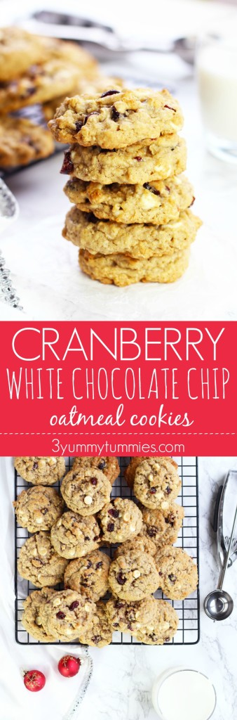 These Cranberry White Chocolate Chip Oatmeal Cookies are soft, chewy and perfect for holiday baking!