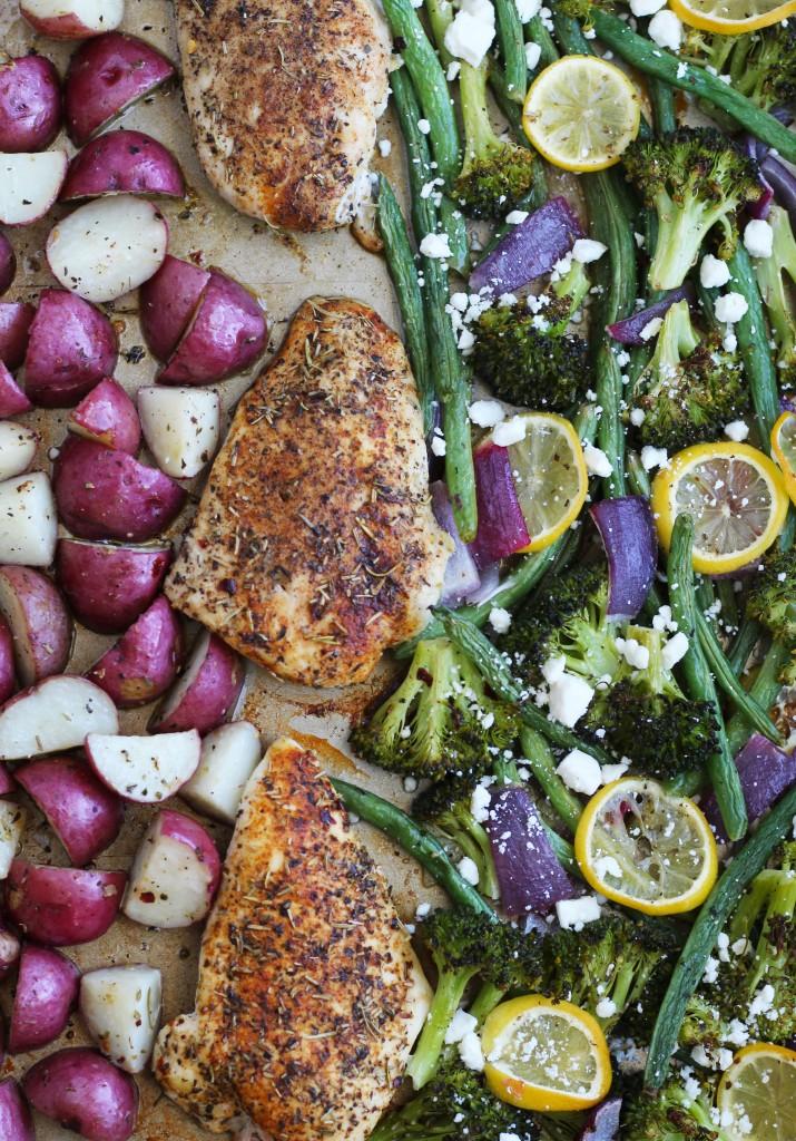 This healthy, Sheet Pan Mediterranean Chicken and Vegetables recipe is perfect for an easy weeknight meal! Nothing is better than throwing everything on one pan for a quick clean up on an already busy night.