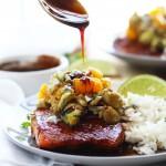 Orange Glazed Salmon with Avocado Salsa