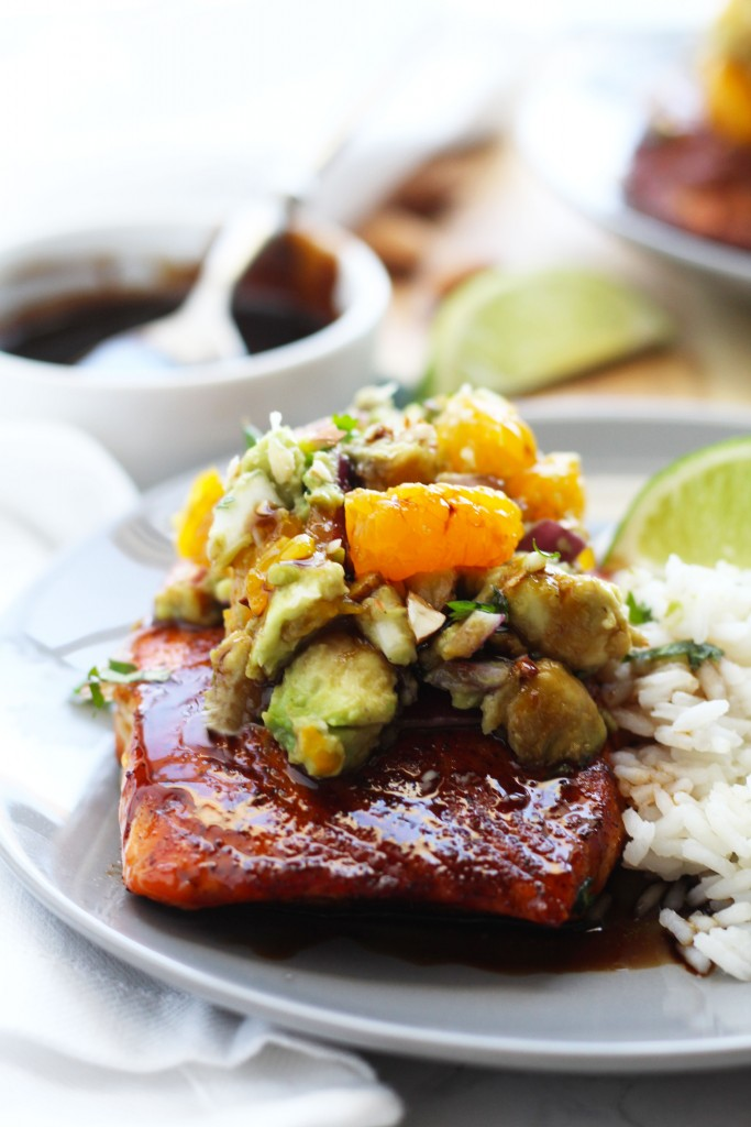 Glazed Salmon With Mandarin Orange Avocado Salsa | 3 Yummy ...