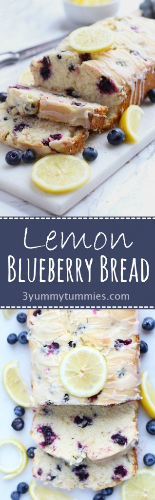 Lemon Blueberry bread with fresh juice and berries and an easy lemon glaze.