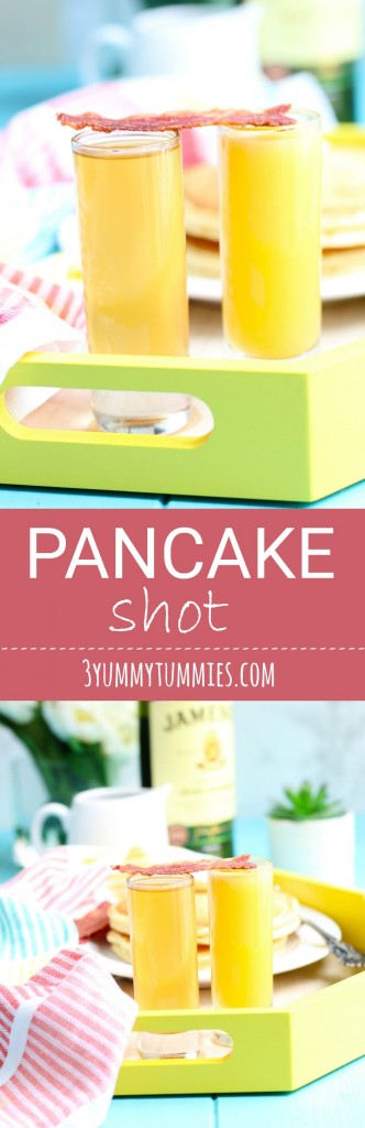 Only 2 ingredients for this Pancake Shot served with a chaser of orange juice and bacon strip.