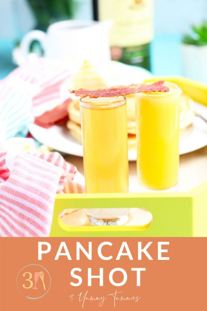 A Pancake Shot is to be enjoyed at all hours of the day with Jameson, Butterscotch Schnapps and orange juice as a chaser.  A total breakfast of champions situation going on here!