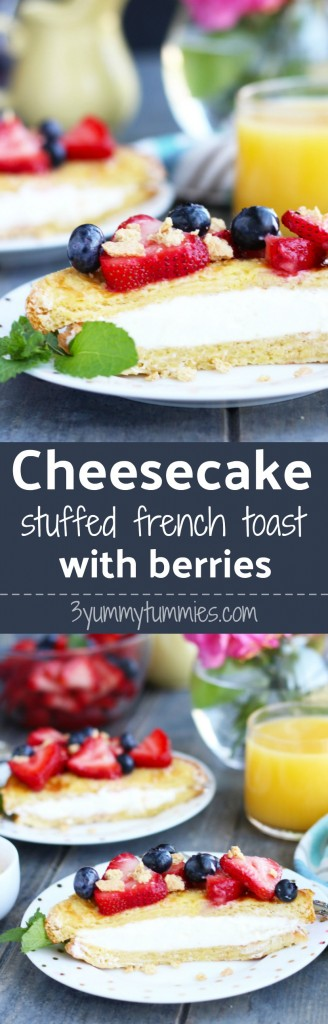 Brioche bread French Toast is seared until golden brown, sandwiched in a layer of cheesecake filling and topped with fresh berries.