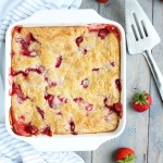 This Strawberry Rhubarb Cobbler is super easy to throw together with fresh strawberries and frozen rhubarb.