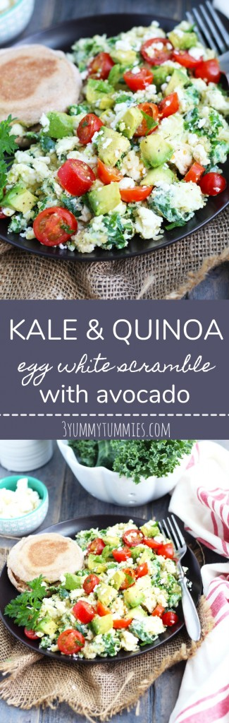 This healthy and easy meal can be thrown together for breakfast or dinner with kale, quinoa, egg whites, avocado and feta cheese!