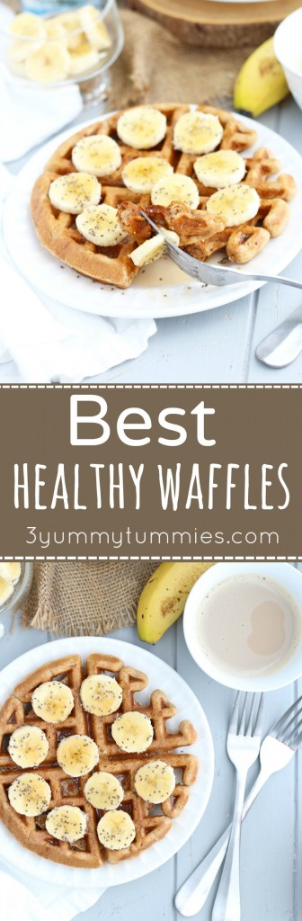 A few easy substitutions make these whole wheat waffles healthier without sacrificing taste.  These are a family favorite!